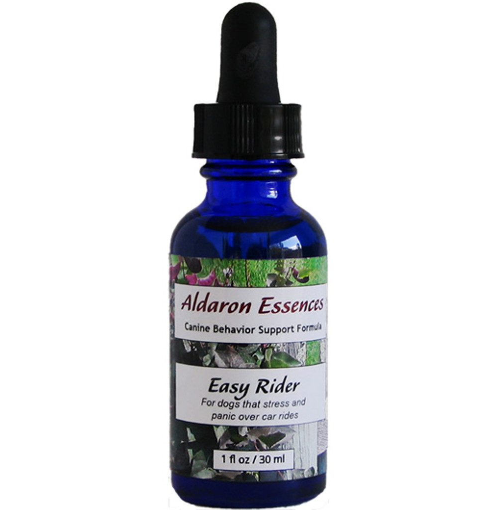 Aldaron Essences' Easy Rider for dogs. Flower essence formula for car travel anxiety and panic.