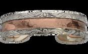 Bar V Bracelet - Hand Engraved Silver Cuff with Hammered Copper Center- 314-220
