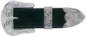 "Bar V Buckle Set - 1 1/2"" Fully Hand Engraved, Polished Silver - 361-001"