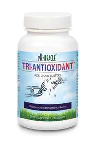 pH Miracle Tri-Antioxidant contains Glutathione, N-acetylcysteine (NAC), and L-Taurine
