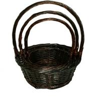 "Set of 3 Dark brown round willow baskets with handle  Large:14""Dx5.5""Hx15.5""  Medium: 12""x4.5""HX13.5""H  Small: 10""x4""Hx12""H"