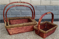 S/3 Rectangular willow and seagrass baskets with handle