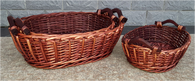 S/3 Oval willow baskets with wooden handles