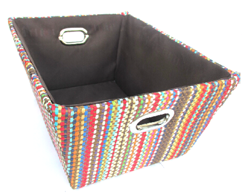 "Rectangular multi colour paper rope basket with brown fabric liner 13""x10""x6""H"