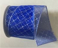 "Organza blue glitter wired ribbon 25 yard/roll - 2.5"" wide"