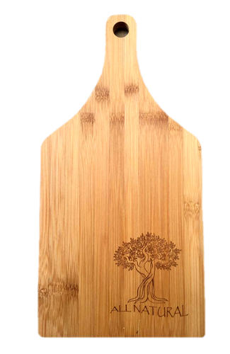 """Bamboo cutting board with """"All Natural"""" engraved 6.25""""x0.4""""x14"""""""