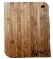 "Bamboo cutting board with ""Bon Appetit"" engraved 10""x0.4""x14"""