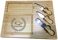 "Bamboo cheese cutting board with set of 3 cheese service utensils. 13.5""x10""x0.75""H"