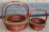 "Largest in a S/3 Round willow and seagrass baskets with handle 16""DX6""H"