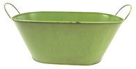 "Oval metal brushed green container w/handles 15""x7""x5.75""H (min.3,20/crtn)"