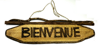 "Barkwood, twig and vine BIENVENUE sign wall plaque - approx 17""x5""H"