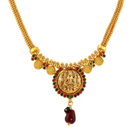 1 Gram Gold Temple Necklace Set 9