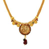1 Gram Gold Temple Necklace Set 9