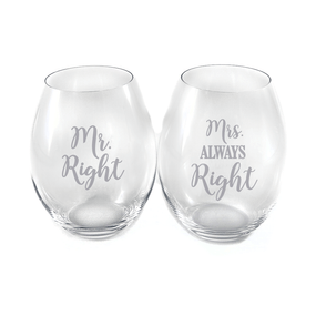 RIEDEL Mr and Mrs Stemless Wine Glasses