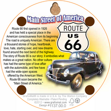 Back of U.S. 66 Historic Route 66 All American Road Cork Coaster (dark version)