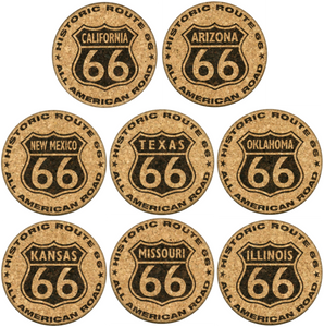 All 8 Route 66 Cork Coaster Set