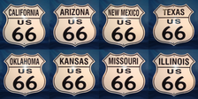 8 state Route 66 shield set