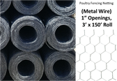Poultry Netting (Metal Wire Openings 1 inch)  3' x 150' Roll (Available in-King City store only)