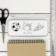 Personalised 'Hand Drawn Hobbies' Pencil Case