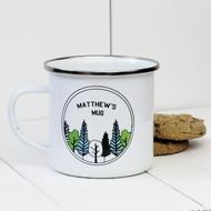 Personalised 'Forest'  Enamel mug