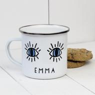 Personalised 'Eyes'  Enamel mug