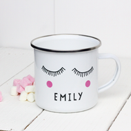 Personalised 'Sleepy Eyes' Enamel mug