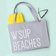 'W'sup Beaches' Personalised Large Tote Bag