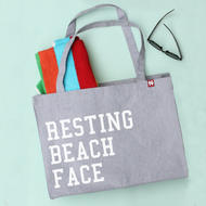 'Resting Beach Face' Personalised Large Tote Bag