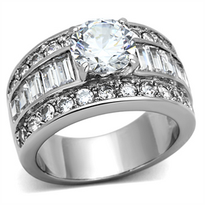 Stainless Steel 4.85 Ct Round Cut Zirconia Wide Band Engagement Ring Sizes 5-10