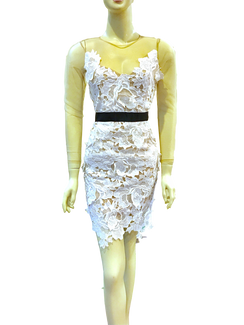 White Lace Illusion Neck flower applique dress