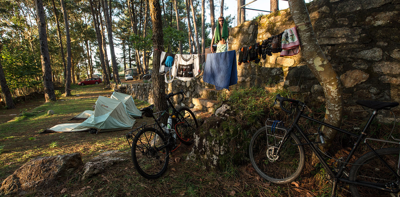 Solo Shelter in use by Salty Spokes team for Europe trek