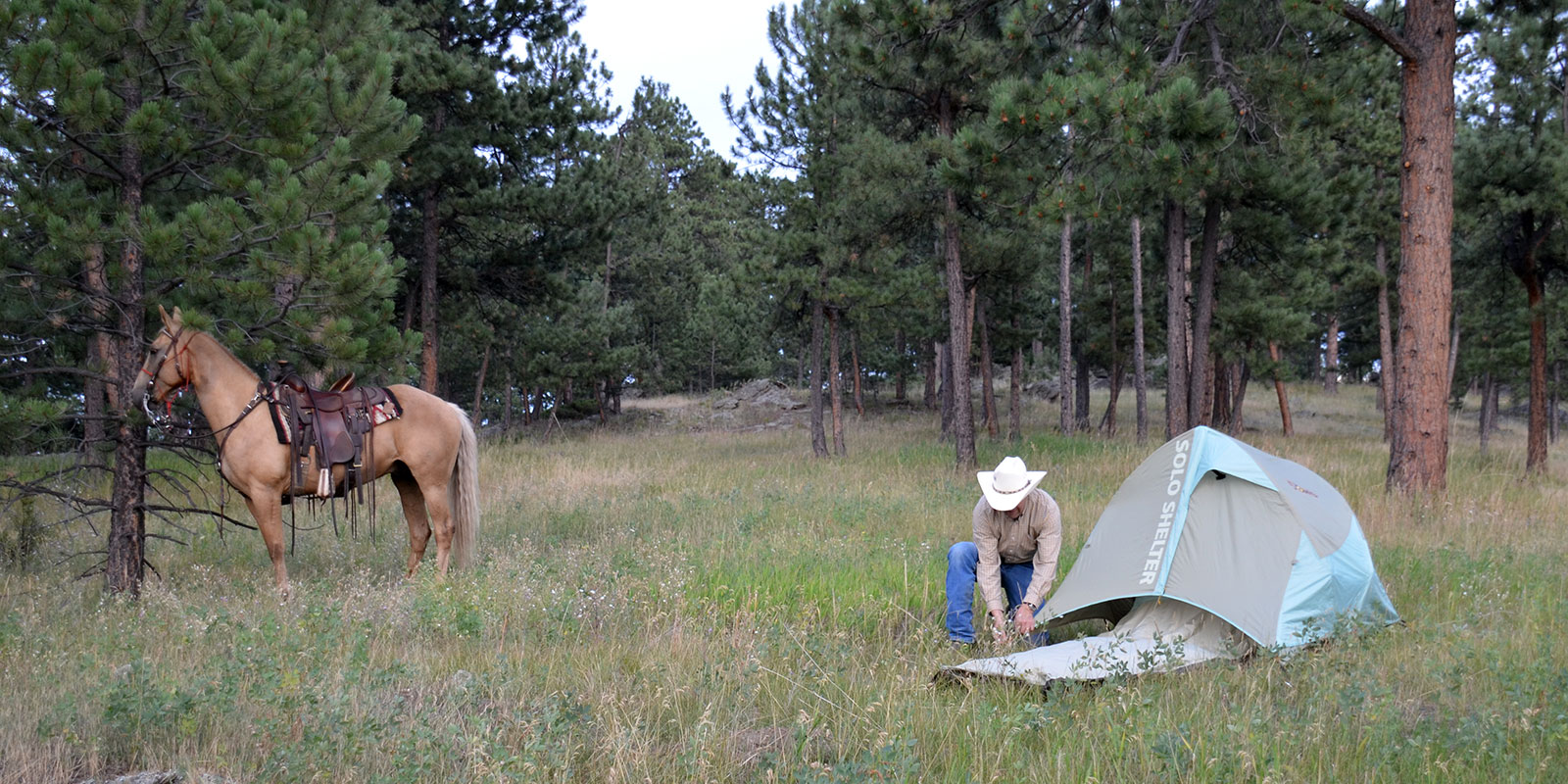 Western Horseback Camping with 5 Owls shelters