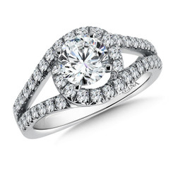 Valina Round Side Stone Engagement Ring R142W