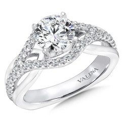 Valina Round Side Stone Engagement Ring R9229W