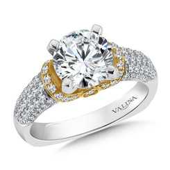 Valina Round Side Stone Engagement Ring R9241W