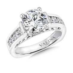 Valina Round Side Stone Engagement Ring R9273W