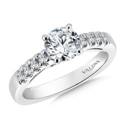 Valina Round Side Stone Engagement Ring R9291W