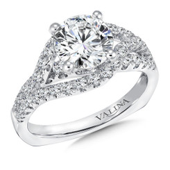 Valina Round Side Stone Engagement Ring R9296W