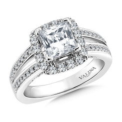 Valina Princess Cut Halo Engagement Ring R9310W
