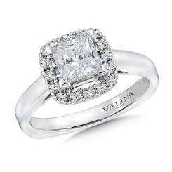 Valina Princess Cut Halo Engagement Ring R9312W