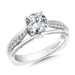 Valina Round Side Stone Engagement Ring R9322W