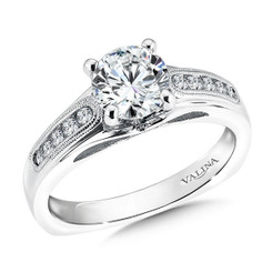 Valina Round Side Stone Engagement Ring R9327W