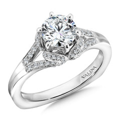 Valina Round Side Stone Engagement Ring R9328W