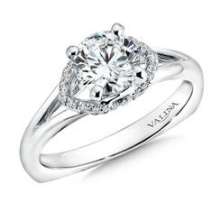 Valina Round Side Stone Engagement Ring R9329W
