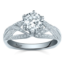 Valina Round Side Stone Engagement Ring R9333W