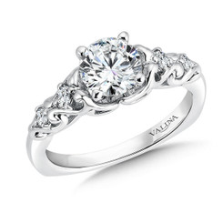 Valina Round Side Stone Engagement Ring R9378W