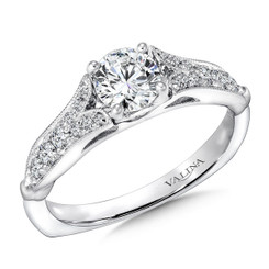 Valina Round Side Stone Engagement Ring R9387W