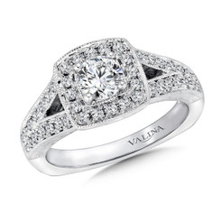 Valina Round Halo Engagement Ring R9389W
