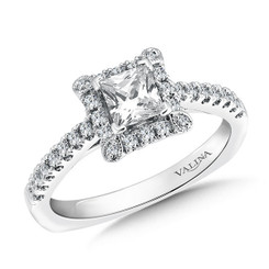 Valina Princess Cut Side Stone Engagement Ring R9402W