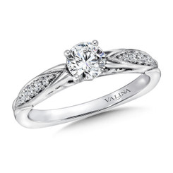 Valina Round Side Stone Engagement Ring R9411W